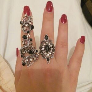 Jewelry - Vintage Style Antique Double Finger Midi Rings